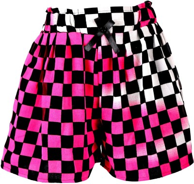 Toddla Checkered Girl's Pleated Pink Skirt