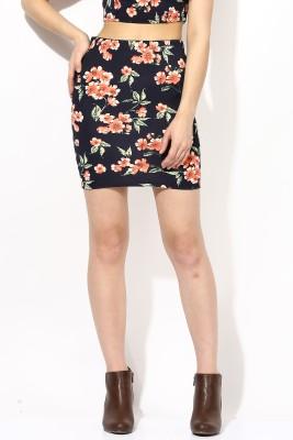 Veni Vidi Vici Floral Print Women's Pencil Black, Orange, Green Skirt