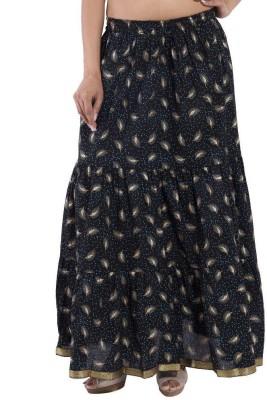 Ooltah Chashma Printed Women's Tiered Black Skirt