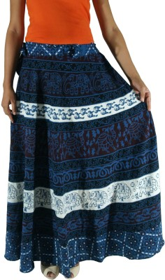 Saffron Craft Printed Women's Wrap Around Blue Skirt