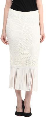 Taurus Self Design Women's Pencil White Skirt