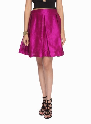 Francisca & Dominique Solid Women's Pleated Purple Skirt