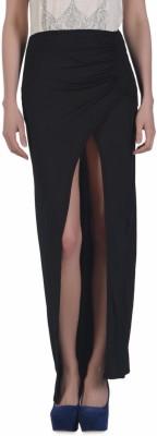N-Gal Solid Women's Tulip Black Skirt