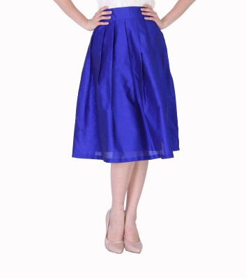 Sugar Her Solid Women's Pleated Blue Skirt