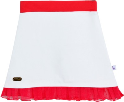 Lil Orchids Solid Girl,s A-line White Skirt