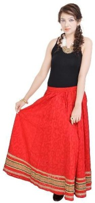 Navya Creations Printed Women's Straight Red Skirt
