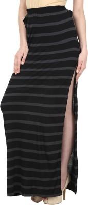 Ruse Striped Women's Straight Black, Grey Skirt