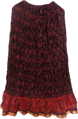 Jaipur Craft Shop Printed Women's Straight Red Skirt