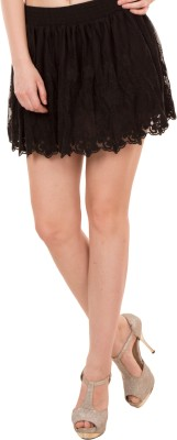 Showoff Embroidered Women's Gathered Black Skirt