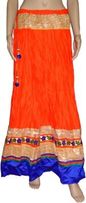 Pinkcityvilla Solid Women's Regular Orange Skirt