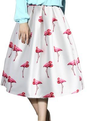 Jassu Fashion Hub Printed Women,s Regular White Skirt