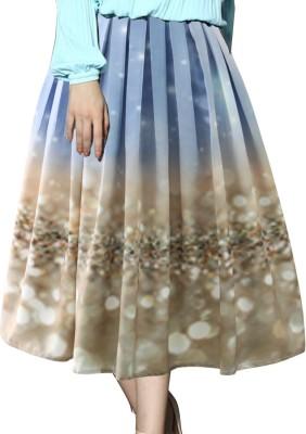 Jassu Fashion Hub Printed Women,s Regular Light Blue, Brown Skirt