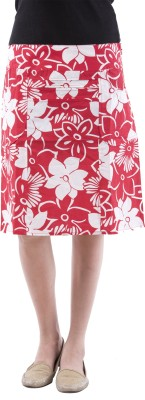 Aarr Floral Print Women's Straight Red Skirt