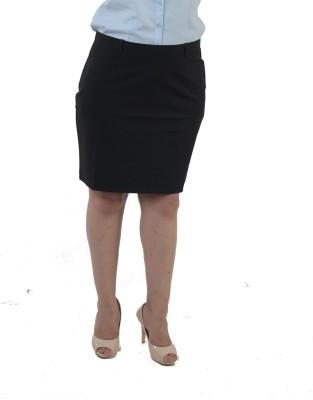 Lee Marc Solid Women's Straight Black Skirt