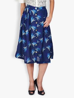 Tokyo Talkies Printed Women's Pleated Dark Blue Skirt