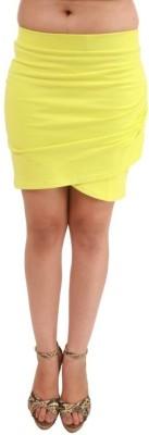 Hypernation Solid Women's A-line Yellow Skirt