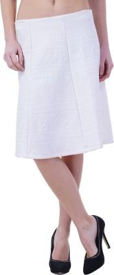 Merch21 Self Design Women's Regular White Skirt