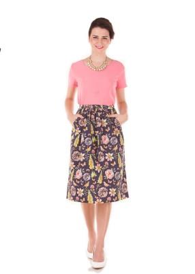 Bandbox Floral Print Women's Regular Blue Skirt