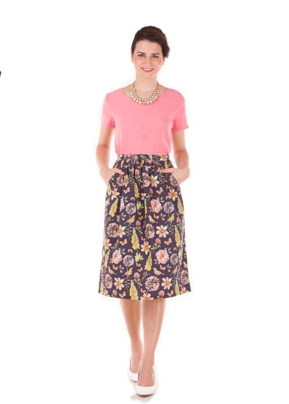 Band Box Floral Print Women's Regular Blue Skirt