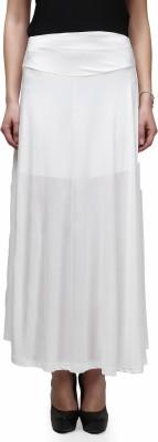 Legis Solid Women's A-line White Skirt