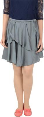 Merch21 Solid Women's Regular Grey Skirt