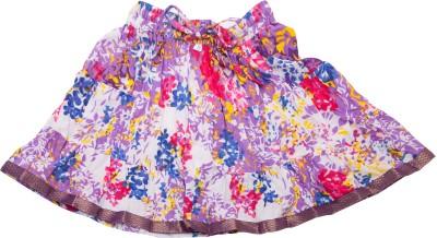 Sunshine Floral Print Girl's A-line White Skirt