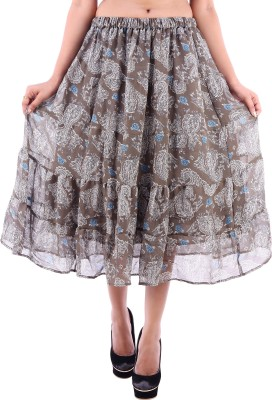 Goodwill Impex Printed Women's A-line Grey Skirt