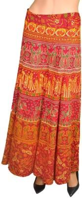Craftghar Printed Women's Wrap Around Blue, Brown, Yellow, Red Skirt