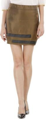 Fuziv Solid Women's Regular Gold Skirt