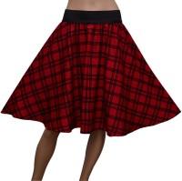 Grace Diva Checkered Women's Gathered Red Skirt
