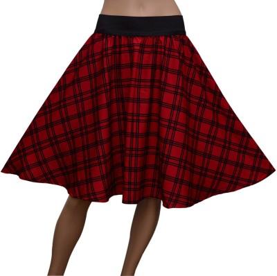 GraceDiva Checkered Women's Gathered Red Skirt