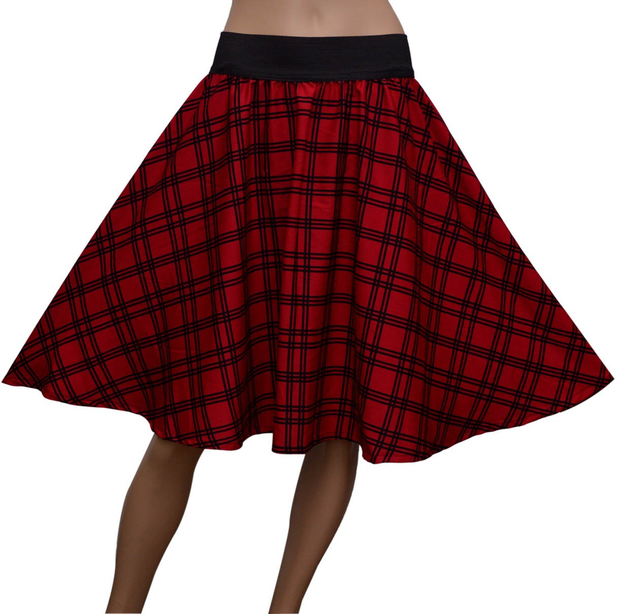 GraceDiva Checkered Womens Gathered Red Skirt