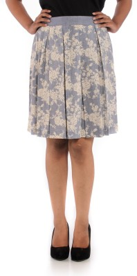 House of Tantrums Printed Women's Pleated Blue, White Skirt
