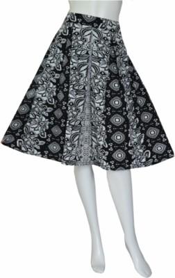 Tara Lifestyle Printed Women's Pleated Black Skirt