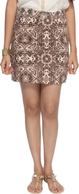 Francisca & Dominique Printed Women's Tube Brown Skirt
