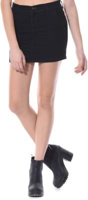 Vonvivo Solid Women's Regular Black Skirt