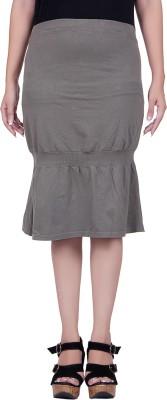 Lluminati Solid Women's Tiered Dark Green Skirt