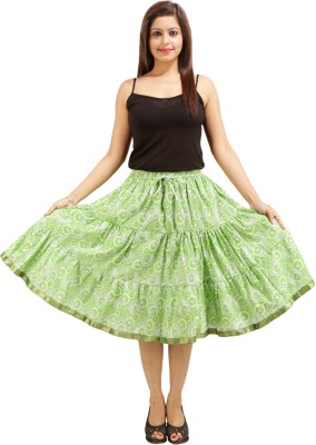 Ceil Printed Women's Gathered Light Green Skirt