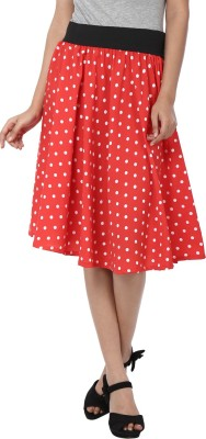 Shopingfever Polka Print Women's Regular Red, White Skirt at flipkart