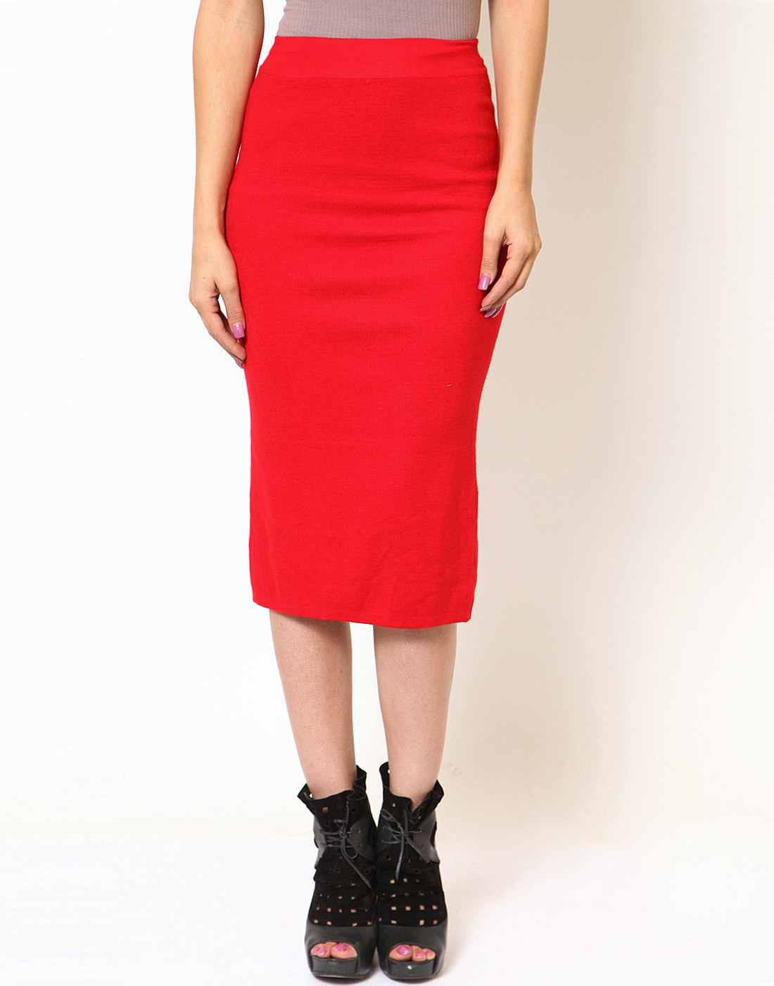 Sportelle USA India Solid Womens Pencil Red Skirt