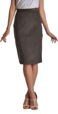 Bombay High Self Design Women's Pencil Grey Skirt