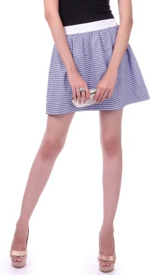 Sassafras Striped Women's A-line Dark Blue, White Skirt at flipkart
