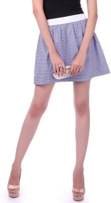 Sassafras Striped Women's A-line Dark Blue, White Skirt