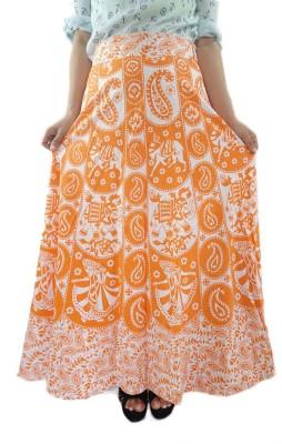ShopMore Printed Women's Wrap Around Orange Skirt