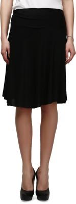 Legis Solid Women's Regular Black Skirt