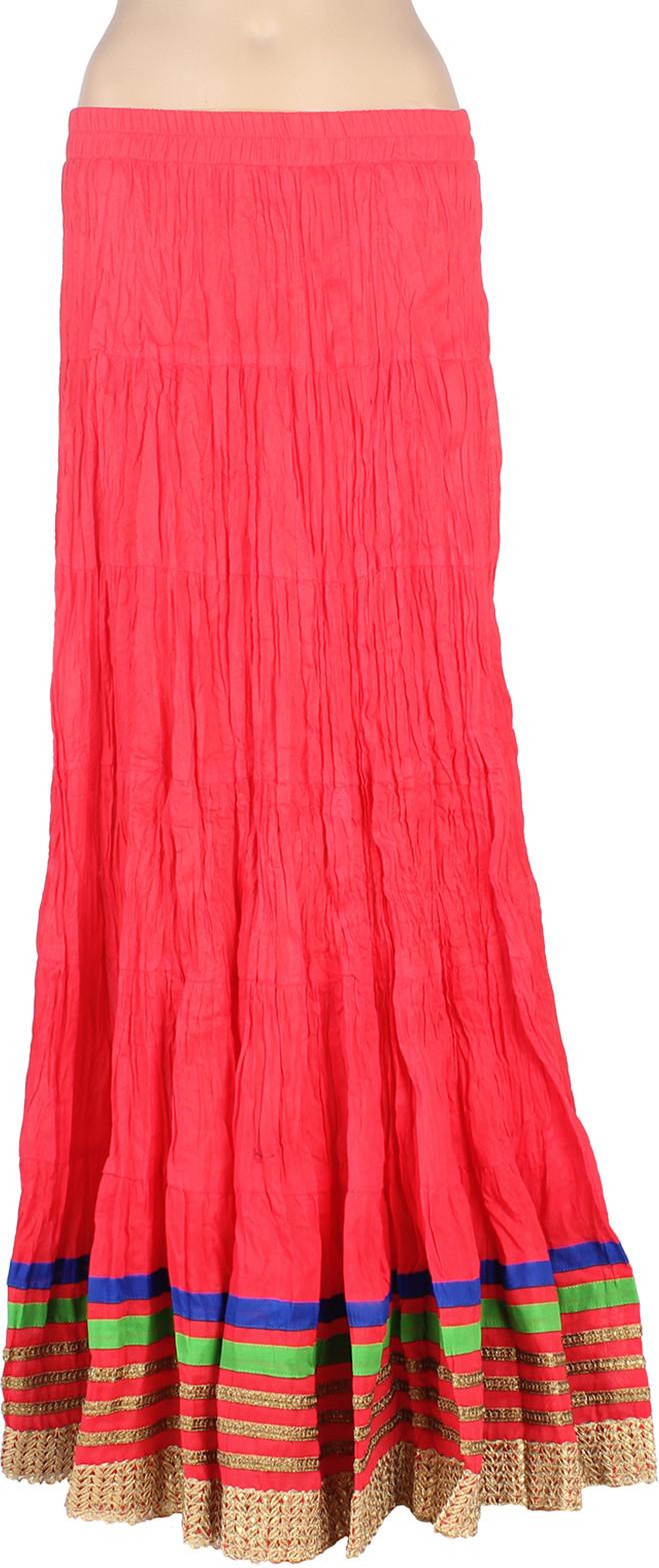 Mina Bazaar Solid Womens A-line Pink Skirt