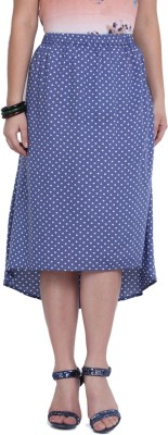 Studio West Polka Print Women's Regular Blue, White Skirt