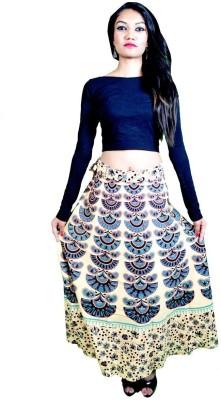 Craftghar Printed Women's Wrap Around Black Skirt
