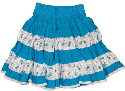 Retaaz Floral Print Girl's Broomstick Blue, White Skirt
