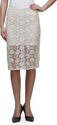 CHERYMOYA Self Design Women's Pencil White Skirt